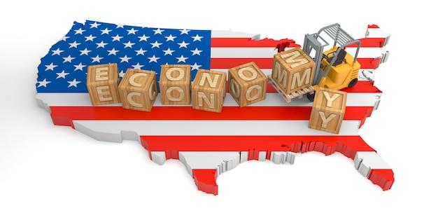 미국의 경제 나무 블록 텍스트입니다. 3d 렌더링