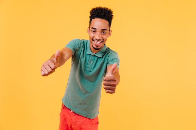 Uomo africano estatico agghiacciante. ritratto di fiducioso modello maschio nero in maglietta verde.
