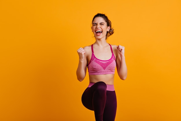Ecstatic woman doing zumba