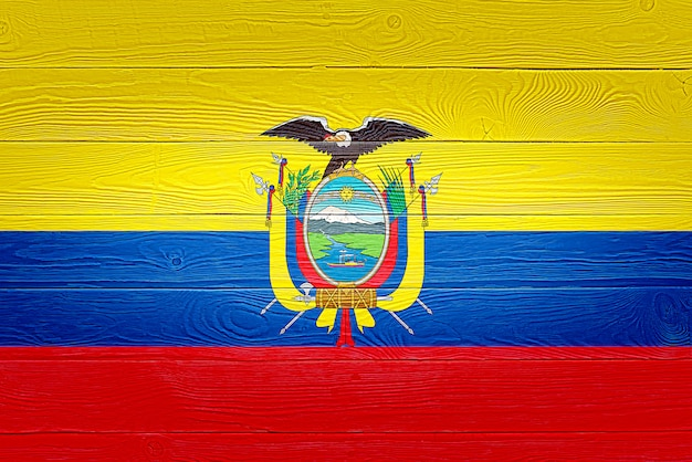 Ecuador flag painted on wooden planks