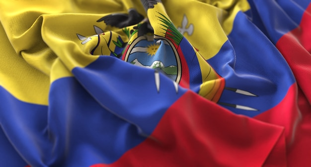 Ecuador flag ruffled beautifully waving macro close-up shot