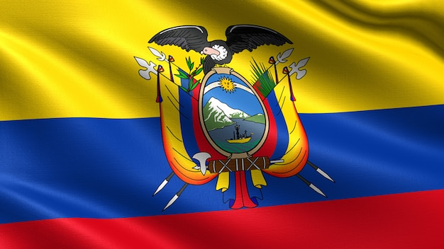 Ecuador flag, with waving fabric texture