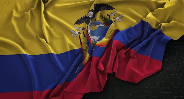 Ecuador flag wrinkled on dark background 3d render