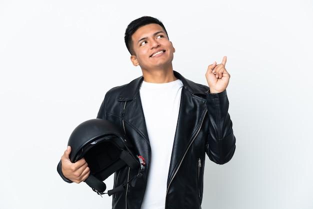 고립 된 오토바이 헬멧 에콰도르 사람