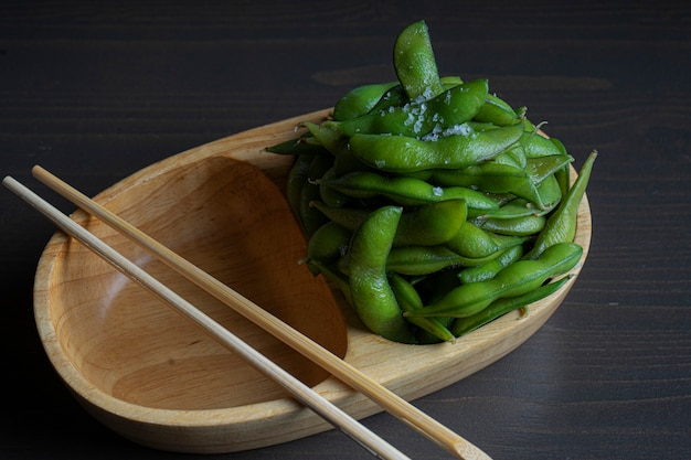 Edamame,boiled green soybeans with salt
