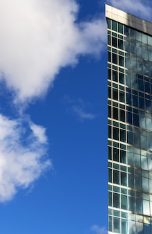 The edge of the building. skyscraper on blue sky background