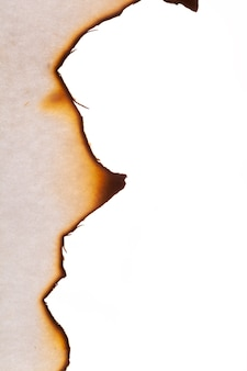 The edge of the burnt paper is insulated on a white background. high quality photo