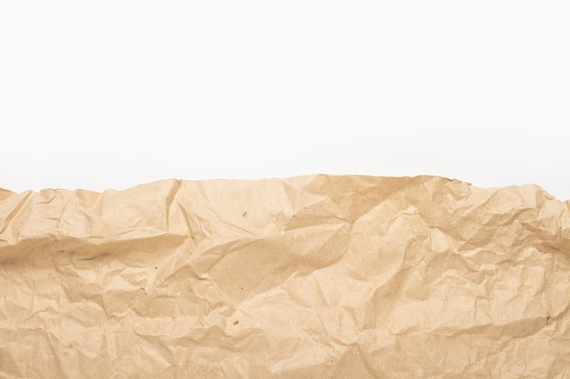 Edge of crumpled craft paper texture