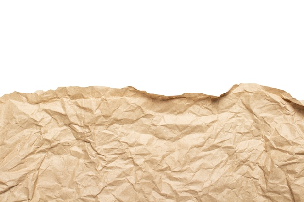 Edge of crumpled craft paper texture
