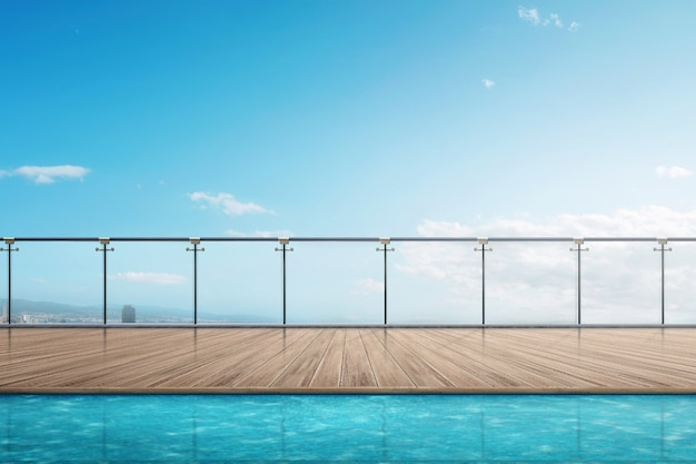 The edge swimming pool on the building balcony