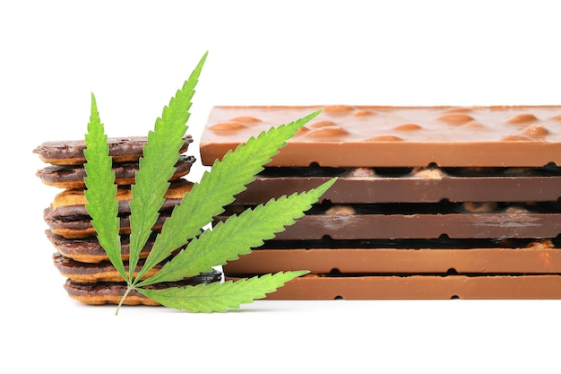 Edible cannabis from marijuana leaf with cbd content and edible chocolate. hemp leaf and chocolate-coated cookies