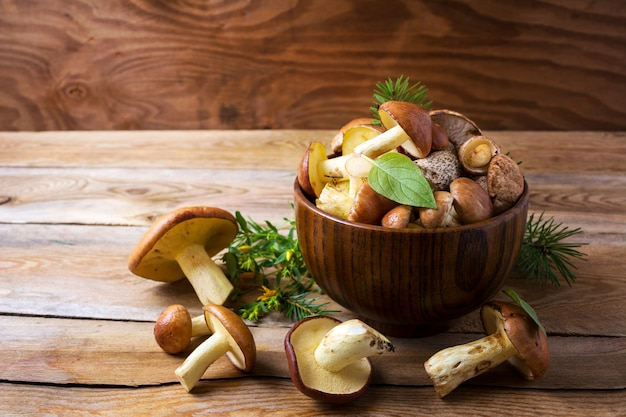Edible mushrooms in the wooden bowl