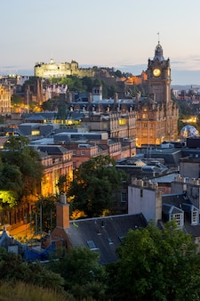 Edinburgh city from calton hill, scotland, uk,