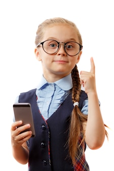 Education, addiction to telephone, technology, internet, social nets, pre teens concept.