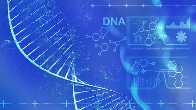 教育と研究の知識医療と健康、dnaの研究、3dレンダリング