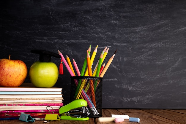 Education or back to school  on chalkboard background.