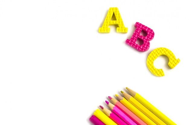 Education or back to school . colorfull school supplies on white