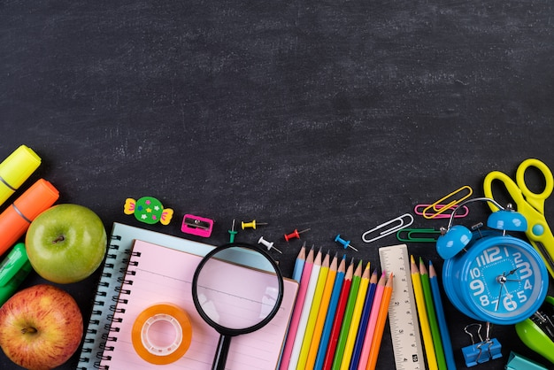 Education or back to school concept on chalkboard background