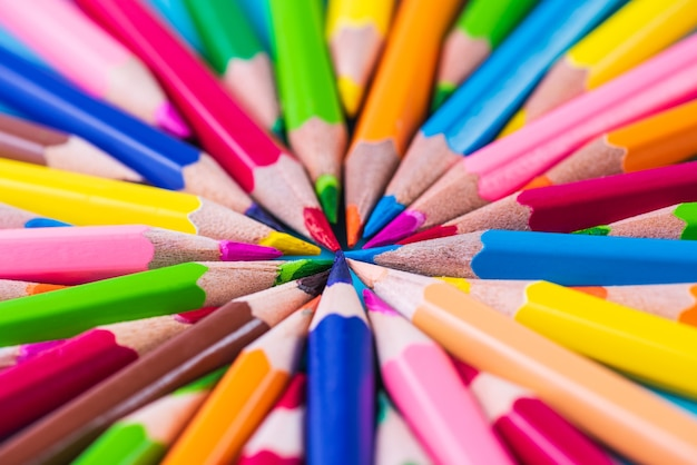 Education or back to school concept. close up color pencil pile, pencil nibs.
