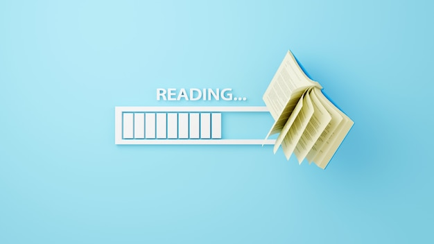 Education concept. 3d of book and download bar on blue background.