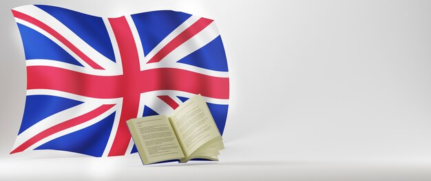 Education concept. 3d of book and england flag on white background.