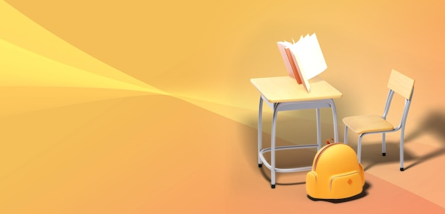 Education concept. 3d of book and school desk on orange background.