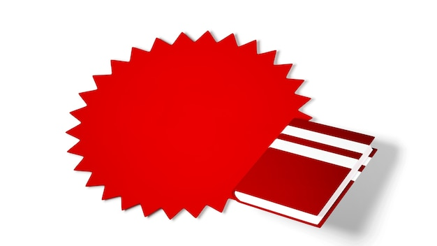 Education concept. 3d of book on white background.