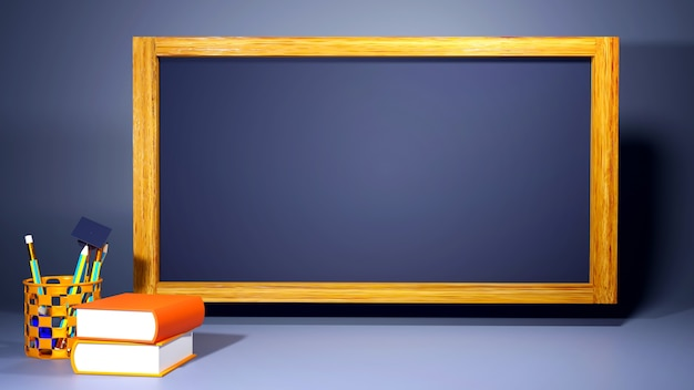 Education concept. 3d of books and blackboard on dark background.