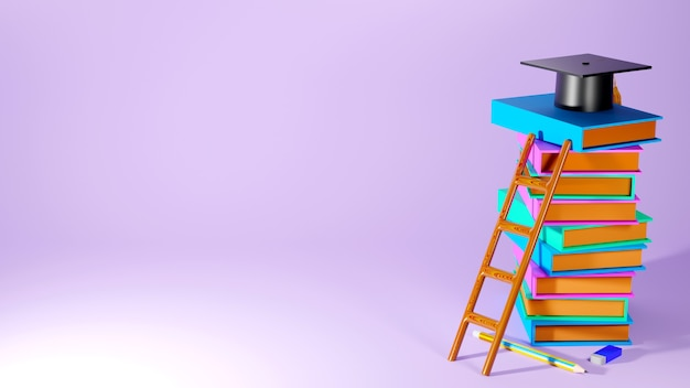 Education concept. 3d of books, hat on pink background. modern flat design isometric concept of education. back to school.
