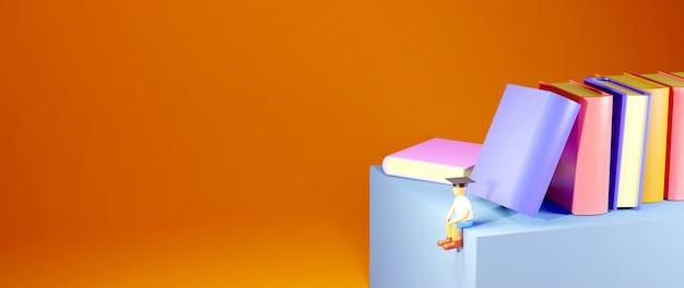 Education concept. 3d of books on orange background.