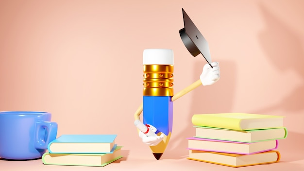 Education concept. 3d of books and pencil on orange background.
