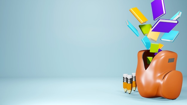 Education concept. 3d of books and school bag on blue background.