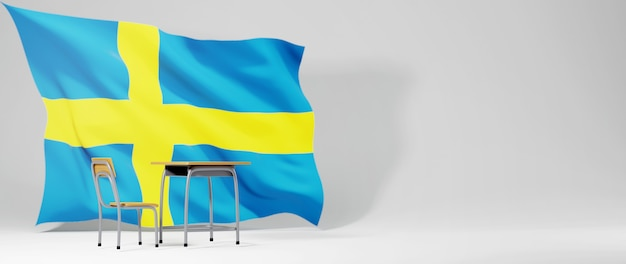 Education concept. 3d of desk and sweden flag on white background.  back to school.