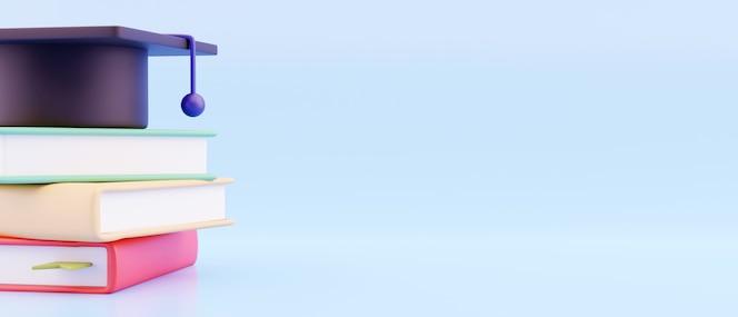 Concetto di educazione. 3d di cappello, libro su sfondo blu. modello di pagina di destinazione. ritorno a scuola, modello di progettazione banner.