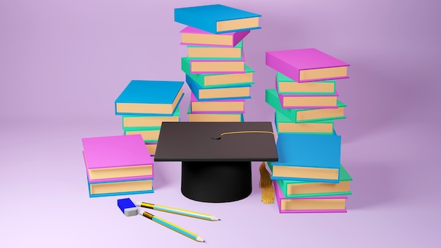 Education concept. 3d of hat, books on pink background. modern flat design isometric concept of education. back to school.