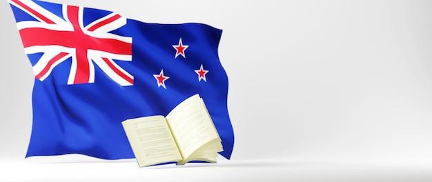 教育の概念。本の3dと白い背景の上のオーストラリアの旗。