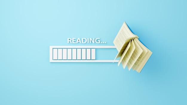 教育の概念。青の背景に本とダウンロードバーの3d。