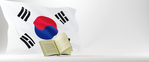 教育の概念。本の3dと白い背景の上の韓国の旗。