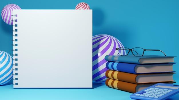 教育の概念。青い背景の本の3d。モダンなフラットデザインのアイソメトリックコンセプト