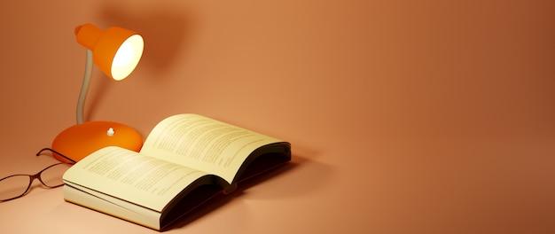 Концепция образования. 3d книги на оранжевом фоне. современный плоский дизайн изометрической концепции