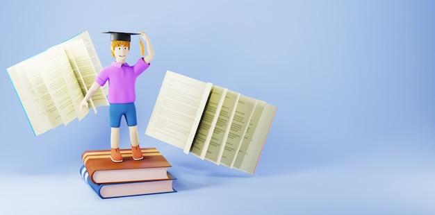 教育の概念。青い背景の本と少年の3d。教育のモダンなフラットデザインアイソメトリックコンセプト。学校に戻る。