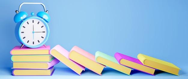 教育の概念。青の背景に本と時計の3d。