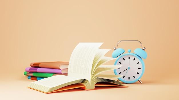 教育の概念。オレンジ色の背景に本と時計の3d。教育のモダンなフラットデザインアイソメトリックコンセプト。学校に戻る。