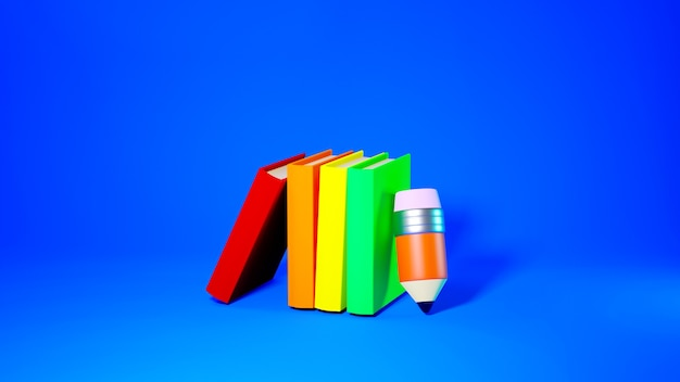 教育の概念。青の背景に本と鉛筆の3d。