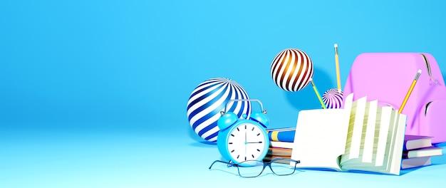 教育の概念。青い背景の本と文房具の3d。