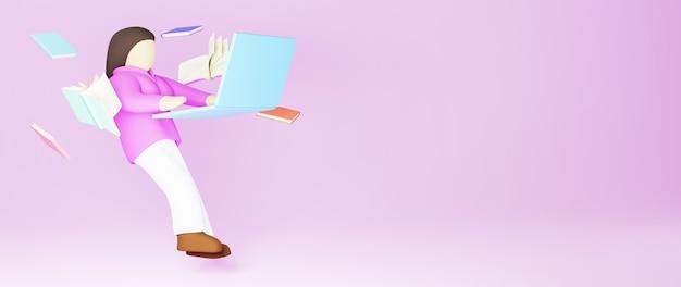 Концепция образования. 3d книг и женщина, играющая в тетрадь на розовом фоне. современный плоский дизайн изометрической концепции образования. обратно в школу.
