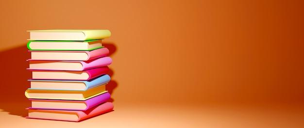 教育の概念。オレンジ色の背景の本の3d。