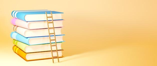 교육 개념. 오렌지 배경에 책의 3d입니다.