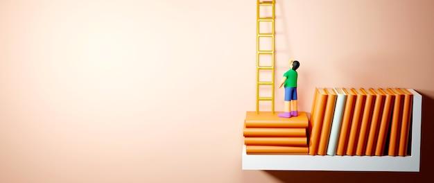 教育の概念。オレンジ色の背景の棚に本の3d。