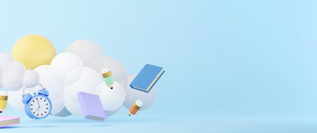 Концепция образования. 3d часов и книг на синем фоне.